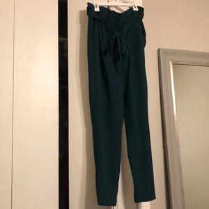 Dark teal dress pants with tie waist